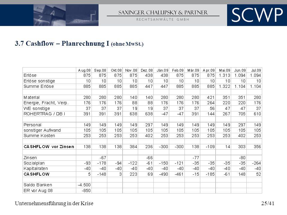 Unternehmensführung in der Krise25/41 3.7 Cashflow – Planrechnung I (ohne MwSt.)