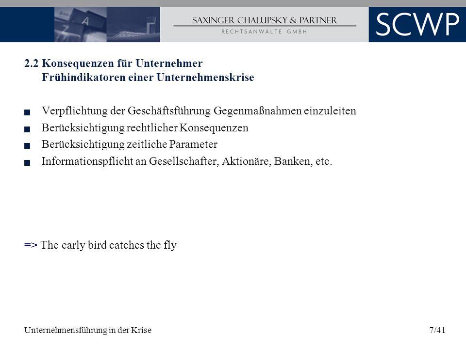 Unternehmensführung in der Krise38/41 9.