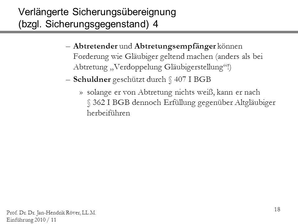 18 Prof. Dr. Dr. Jan-Hendrik Röver, LL.M. Einführung 2010 / 11 Verlängerte Sicherungsübereignung (bzgl. Sicherungsgegenstand) 4 –Abtretender und Abtre