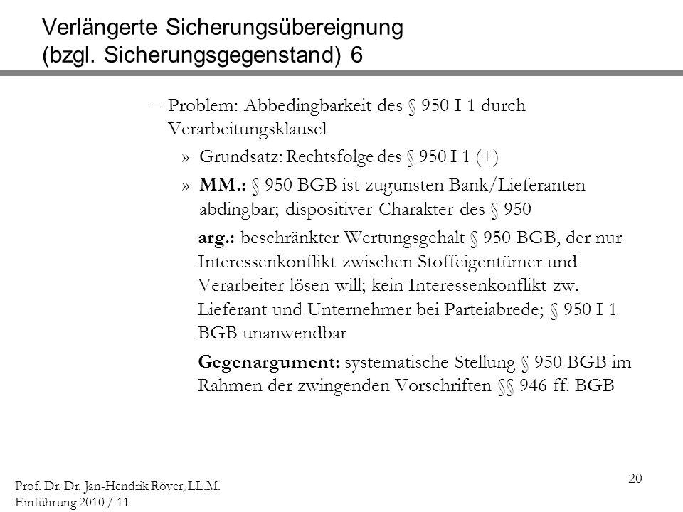 20 Prof. Dr. Dr. Jan-Hendrik Röver, LL.M. Einführung 2010 / 11 Verlängerte Sicherungsübereignung (bzgl. Sicherungsgegenstand) 6 –Problem: Abbedingbark