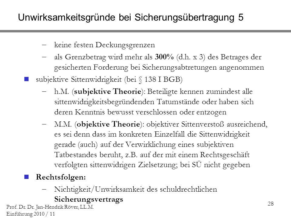 28 Prof. Dr. Dr. Jan-Hendrik Röver, LL.M. Einführung 2010 / 11 Unwirksamkeitsgründe bei Sicherungsübertragung 5 keine festen Deckungsgrenzen als Grenz