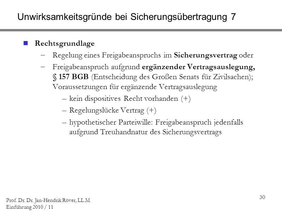 30 Prof. Dr. Dr. Jan-Hendrik Röver, LL.M. Einführung 2010 / 11 Unwirksamkeitsgründe bei Sicherungsübertragung 7 Rechtsgrundlage Regelung eines Freigab