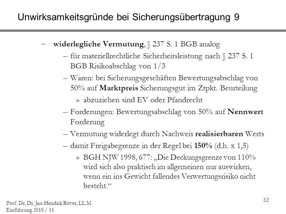 32 Prof. Dr. Dr. Jan-Hendrik Röver, LL.M. Einführung 2010 / 11 Unwirksamkeitsgründe bei Sicherungsübertragung 9 widerlegliche Vermutung, § 237 S. 1 BG