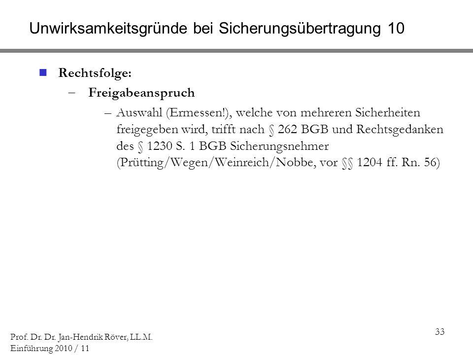 33 Prof. Dr. Dr. Jan-Hendrik Röver, LL.M. Einführung 2010 / 11 Unwirksamkeitsgründe bei Sicherungsübertragung 10 Rechtsfolge: Freigabeanspruch –Auswah