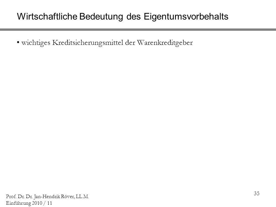 35 Prof. Dr. Dr. Jan-Hendrik Röver, LL.M. Einführung 2010 / 11 Wirtschaftliche Bedeutung des Eigentumsvorbehalts wichtiges Kreditsicherungsmittel der