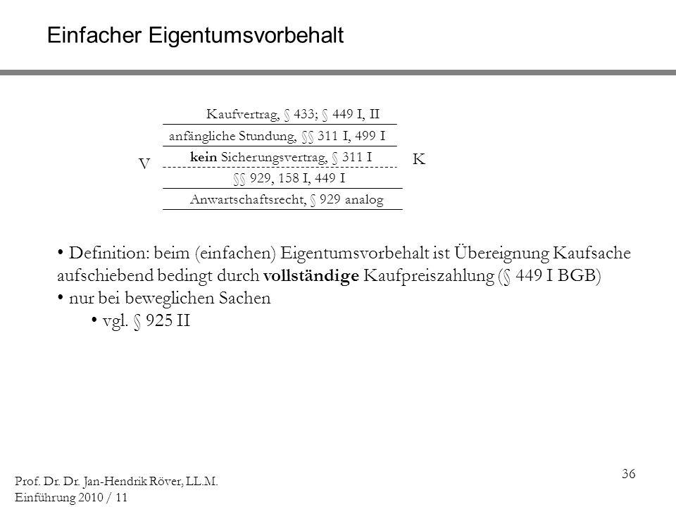 36 Prof. Dr. Dr. Jan-Hendrik Röver, LL.M. Einführung 2010 / 11 V K Kaufvertrag, § 433; § 449 I, II Einfacher Eigentumsvorbehalt Anwartschaftsrecht, §