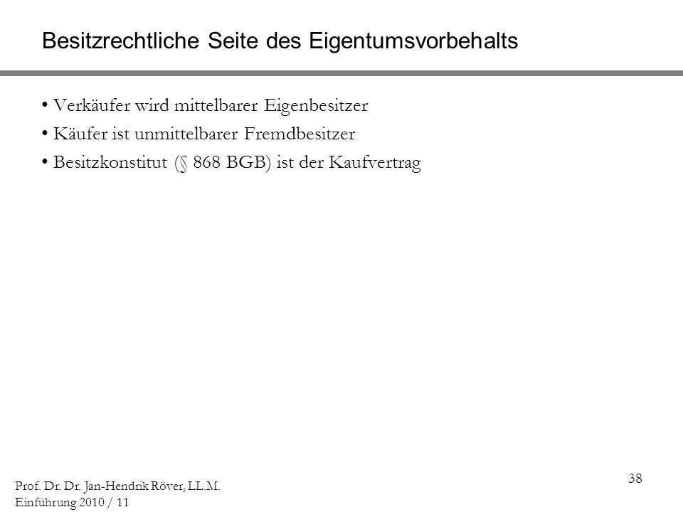 38 Prof. Dr. Dr. Jan-Hendrik Röver, LL.M. Einführung 2010 / 11 Besitzrechtliche Seite des Eigentumsvorbehalts Verkäufer wird mittelbarer Eigenbesitzer