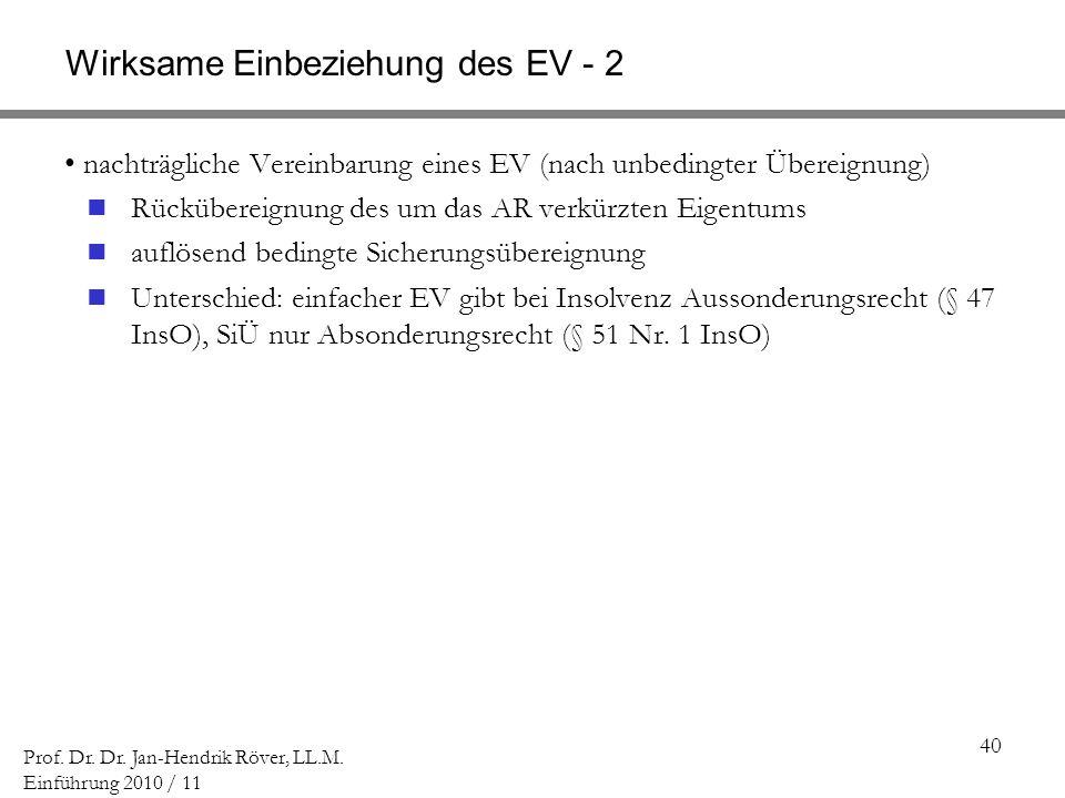 40 Prof. Dr. Dr. Jan-Hendrik Röver, LL.M. Einführung 2010 / 11 Wirksame Einbeziehung des EV - 2 nachträgliche Vereinbarung eines EV (nach unbedingter