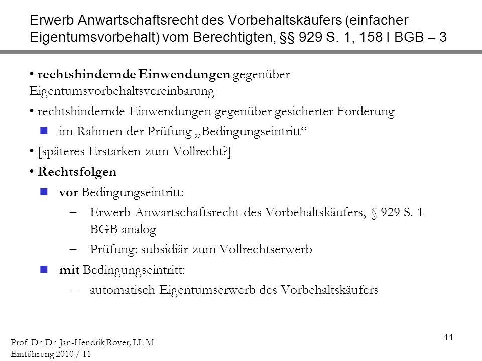 44 Prof. Dr. Dr. Jan-Hendrik Röver, LL.M. Einführung 2010 / 11 Erwerb Anwartschaftsrecht des Vorbehaltskäufers (einfacher Eigentumsvorbehalt) vom Bere