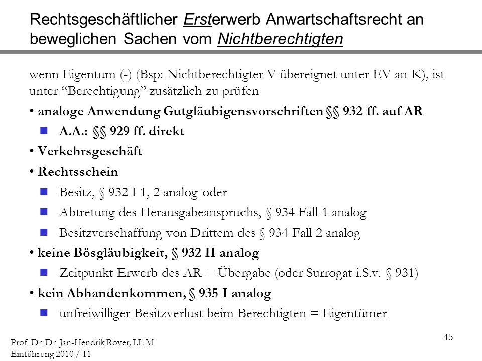 45 Prof. Dr. Dr. Jan-Hendrik Röver, LL.M. Einführung 2010 / 11 Rechtsgeschäftlicher Ersterwerb Anwartschaftsrecht an beweglichen Sachen vom Nichtberec