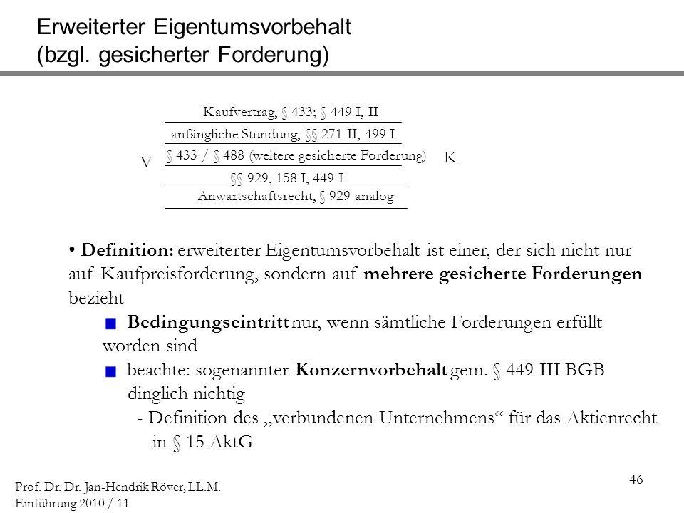 46 Prof. Dr. Dr. Jan-Hendrik Röver, LL.M. Einführung 2010 / 11 V K Kaufvertrag, § 433; § 449 I, II Erweiterter Eigentumsvorbehalt (bzgl. gesicherter F