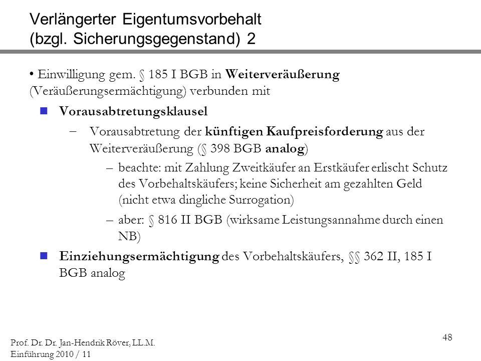 48 Prof. Dr. Dr. Jan-Hendrik Röver, LL.M. Einführung 2010 / 11 Verlängerter Eigentumsvorbehalt (bzgl. Sicherungsgegenstand) 2 Einwilligung gem. § 185