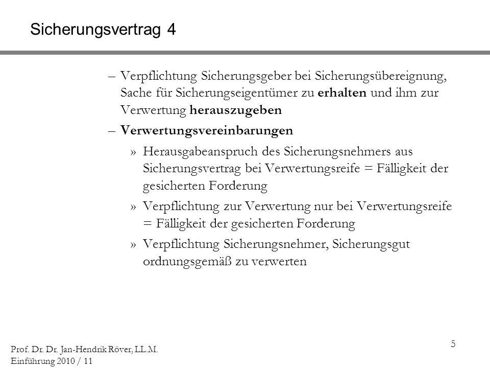 5 Prof. Dr. Dr. Jan-Hendrik Röver, LL.M. Einführung 2010 / 11 Sicherungsvertrag 4 –Verpflichtung Sicherungsgeber bei Sicherungsübereignung, Sache für