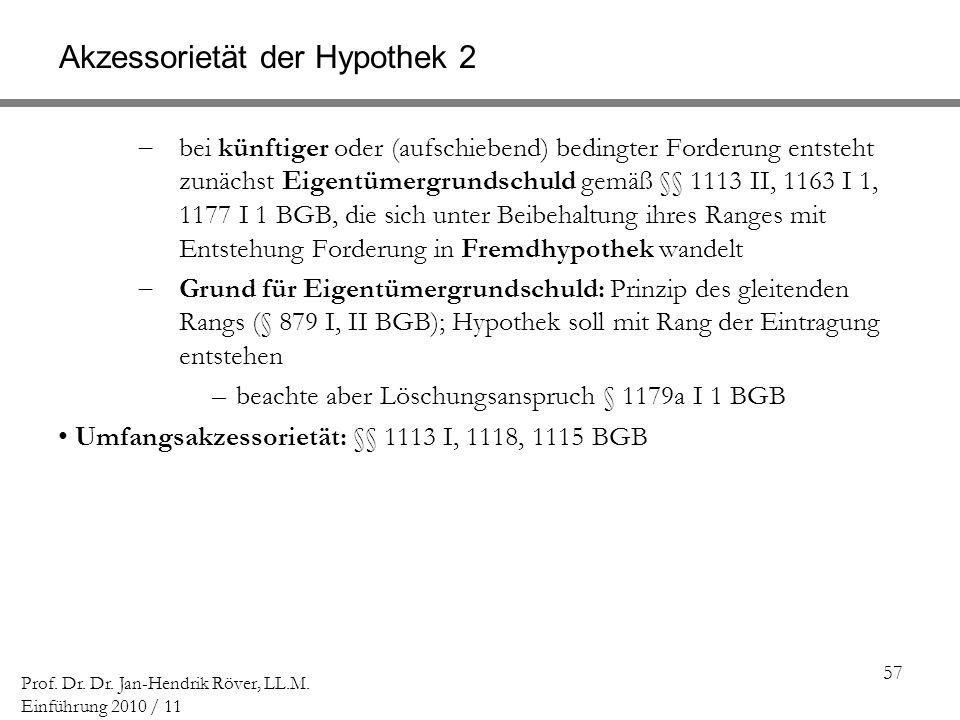 57 Prof. Dr. Dr. Jan-Hendrik Röver, LL.M. Einführung 2010 / 11 Akzessorietät der Hypothek 2 bei künftiger oder (aufschiebend) bedingter Forderung ents