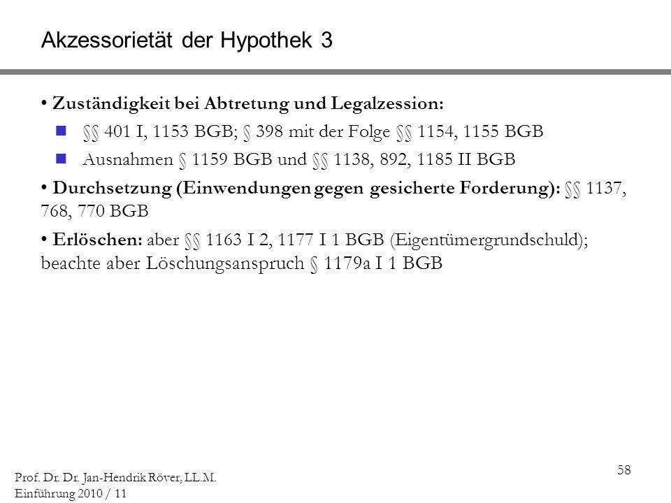 58 Prof. Dr. Dr. Jan-Hendrik Röver, LL.M. Einführung 2010 / 11 Akzessorietät der Hypothek 3 Zuständigkeit bei Abtretung und Legalzession: §§ 401 I, 11