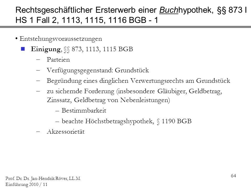 64 Prof. Dr. Dr. Jan-Hendrik Röver, LL.M. Einführung 2010 / 11 Rechtsgeschäftlicher Ersterwerb einer Buchhypothek, §§ 873 I HS 1 Fall 2, 1113, 1115, 1