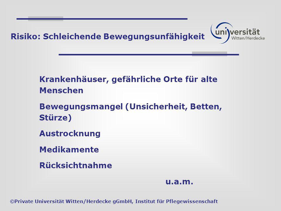 Krankenhäuser, gefährliche Orte für alte Menschen Bewegungsmangel (Unsicherheit, Betten, Stürze) Austrocknung Medikamente Rücksichtnahme u.a.m. ©Priva