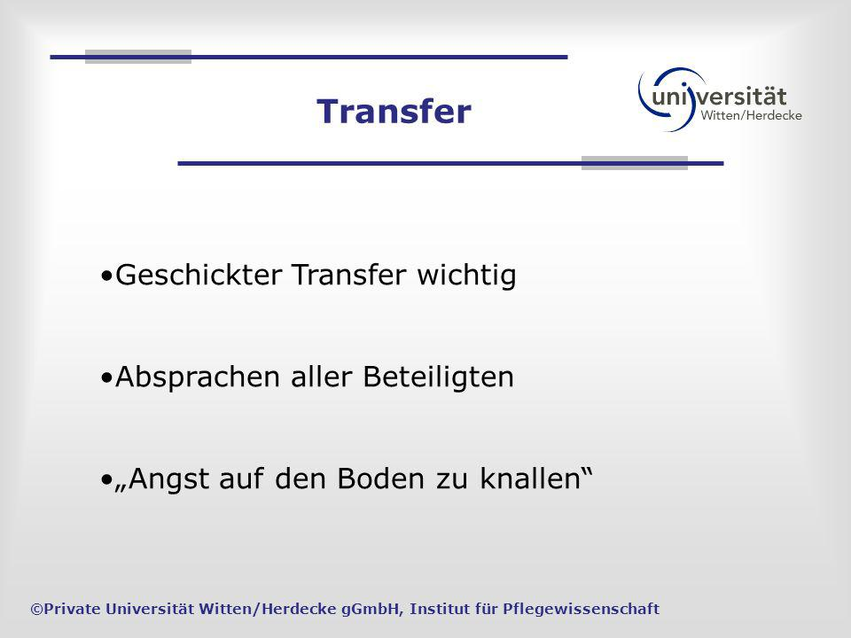 ©Private Universität Witten/Herdecke gGmbH, Institut für Pflegewissenschaft Transfer Geschickter Transfer wichtig Absprachen aller Beteiligten Angst a