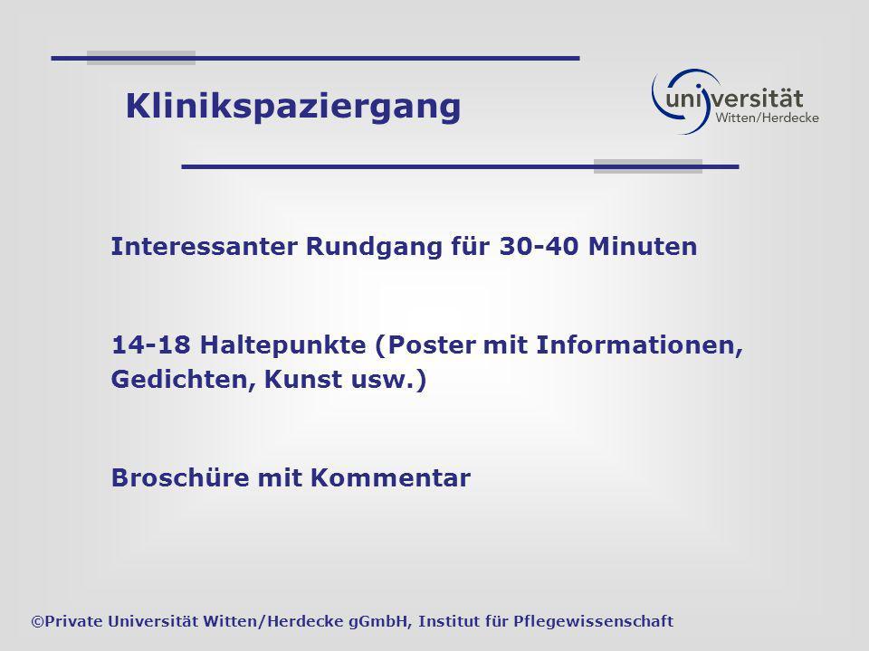 Interessanter Rundgang für 30-40 Minuten 14-18 Haltepunkte (Poster mit Informationen, Gedichten, Kunst usw.) Broschüre mit Kommentar ©Private Universi