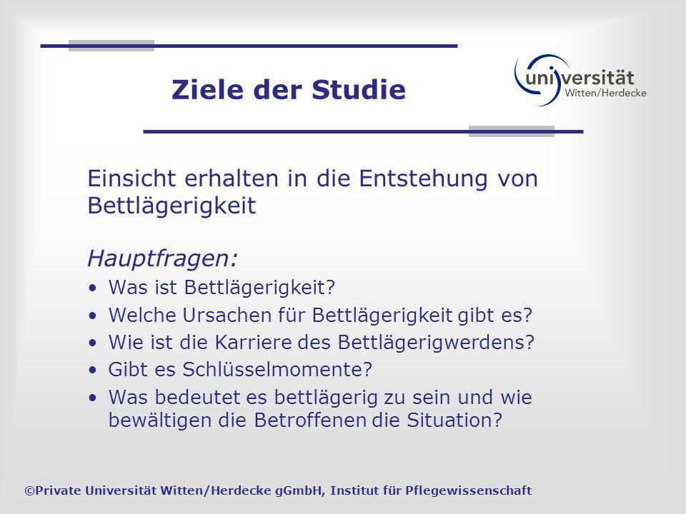 Einsicht erhalten in die Entstehung von Bettlägerigkeit ©Private Universität Witten/Herdecke gGmbH, Institut für Pflegewissenschaft Hauptfragen: Was i