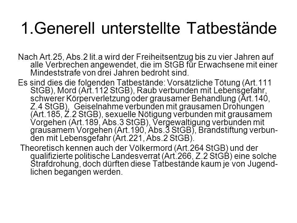 1.Generell unterstellte Tatbestände Nach Art.25, Abs.2 lit.a wird der Freiheitsentzug bis zu vier Jahren auf alle Verbrechen angewendet, die im StGB f