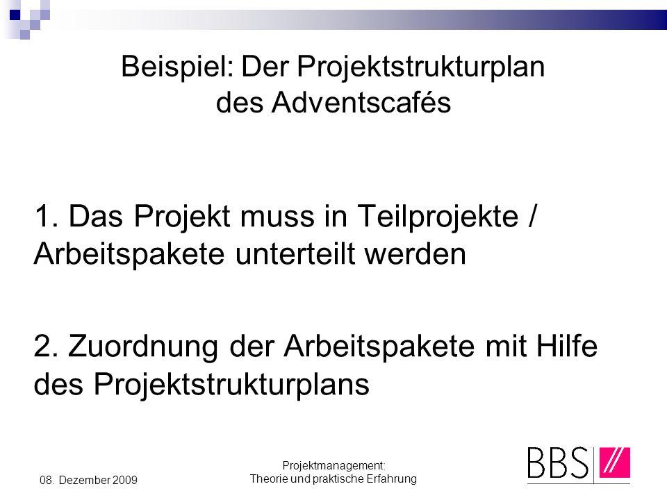 Projektmanagement: Theorie und praktische Erfahrung 08. Dezember 2009 Beispiel: Der Projektstrukturplan des Adventscafés 1. Das Projekt muss in Teilpr