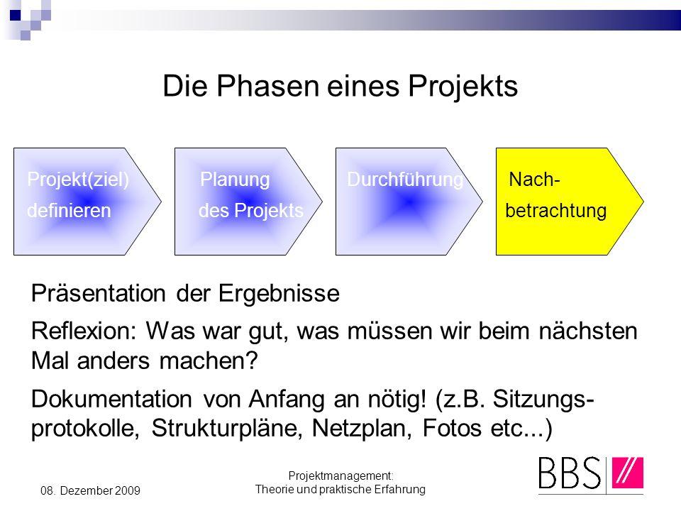 Projektmanagement: Theorie und praktische Erfahrung 08. Dezember 2009 Die Phasen eines Projekts Projekt(ziel) Planung Durchführung Nach- definieren de