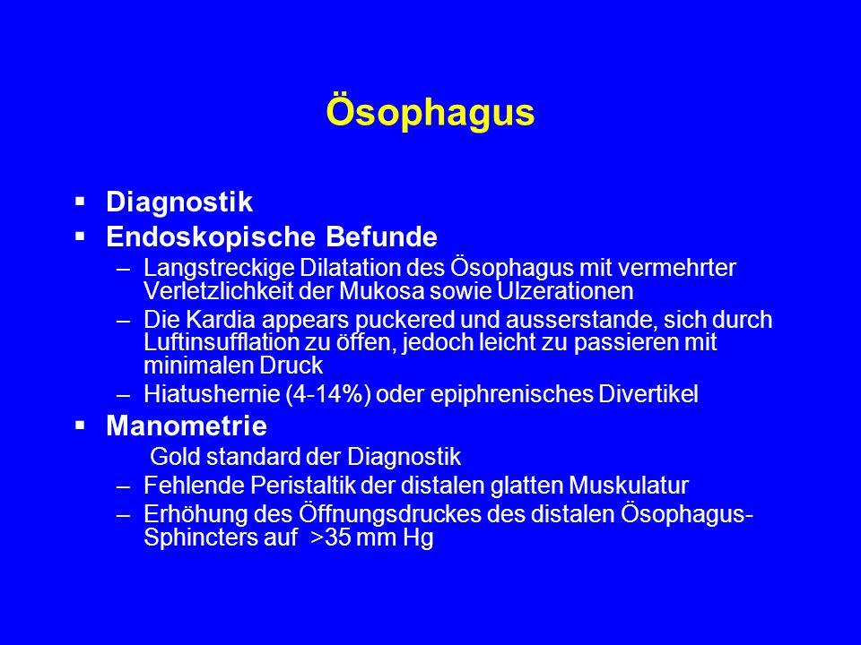 Ösophagus Diagnostik Endoskopische Befunde –Langstreckige Dilatation des Ösophagus mit vermehrter Verletzlichkeit der Mukosa sowie Ulzerationen –Die K