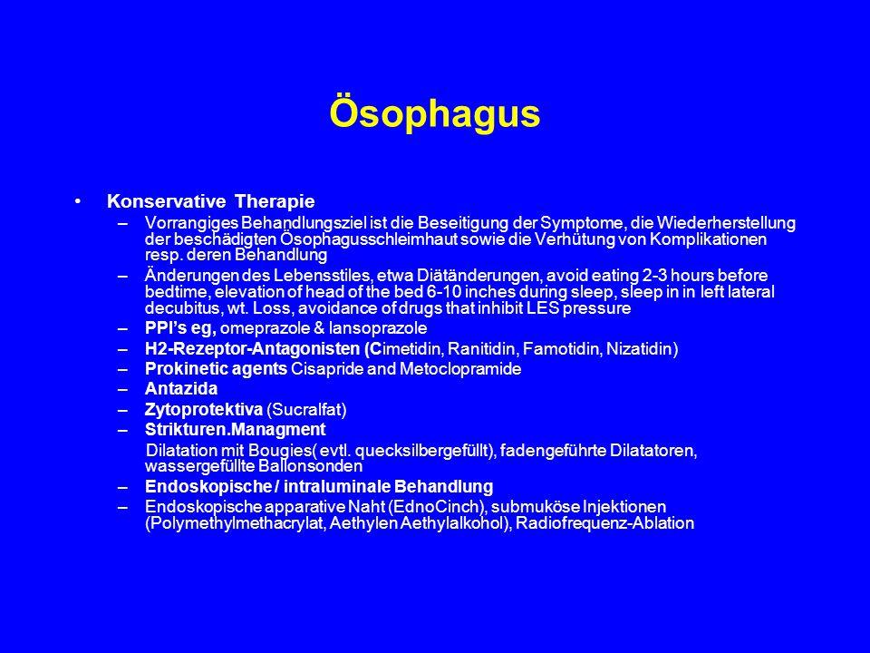 Ösophagus Konservative Therapie –Vorrangiges Behandlungsziel ist die Beseitigung der Symptome, die Wiederherstellung der beschädigten Ösophagusschleim