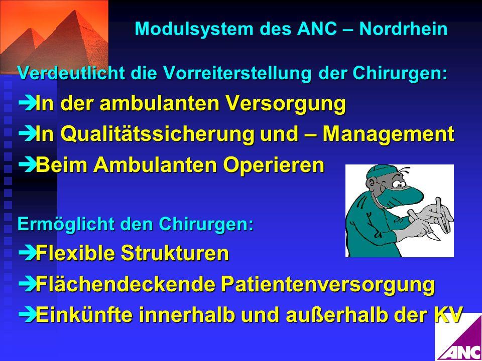 Modulsystem des ANC – Nordrhein Verdeutlicht die Vorreiterstellung der Chirurgen: In der ambulanten Versorgung In der ambulanten Versorgung In Qualitä