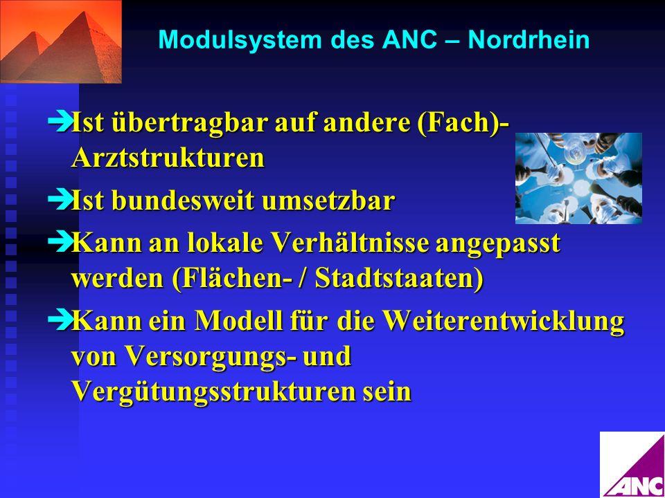 Modulsystem des ANC – Nordrhein Ist übertragbar auf andere (Fach)- Arztstrukturen Ist übertragbar auf andere (Fach)- Arztstrukturen Ist bundesweit ums