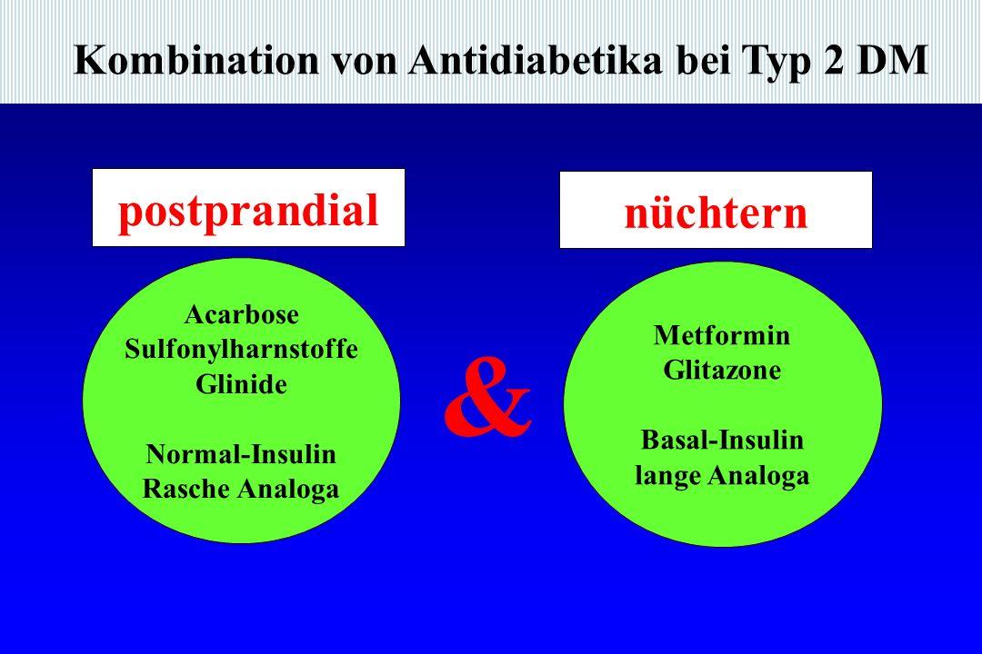 Kombination von Antidiabetika bei Typ 2 DM Acarbose Sulfonylharnstoffe Glinide Normal-Insulin Rasche Analoga & Metformin Glitazone Basal-Insulin lange Analoga postprandial nüchtern