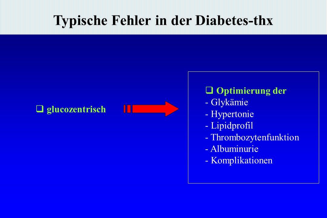 Typische Fehler in der Diabetes-thx glucozentrisch Optimierung der - Glykämie - Hypertonie - Lipidprofil - Thrombozytenfunktion - Albuminurie - Komplikationen