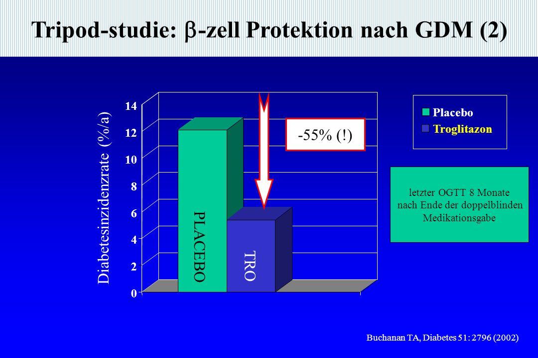 Tripod-studie: -zell Protektion nach GDM (2) Buchanan TA, Diabetes 51: 2796 (2002) 0 2 4 6 8 10 12 14 Placebo Troglitazon PLACEBO TRO Diabetesinzidenzrate (%/a) -55% (!) letzter OGTT 8 Monate nach Ende der doppelblinden Medikationsgabe