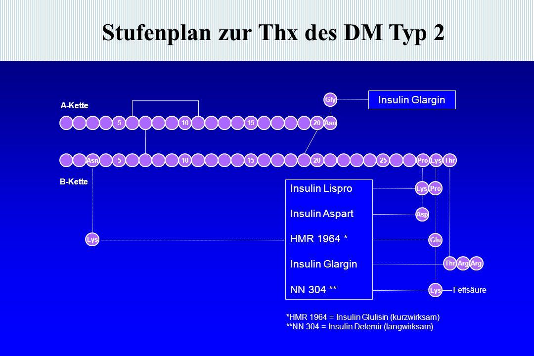 Stufenplan zur Thx des DM Typ 2 *HMR 1964 = Insulin Glulisin (kurzwirksam) **NN 304 = Insulin Detemir (langwirksam) Gly Arg Insulin Glargin Insulin Lispro Insulin Aspart HMR 1964 * Insulin Glargin NN 304 ** Lys Glu Pro Thr Asn2015105 A-Kette Asn510152025ProLysThr B-Kette Fettsäure Lys Asp Lys