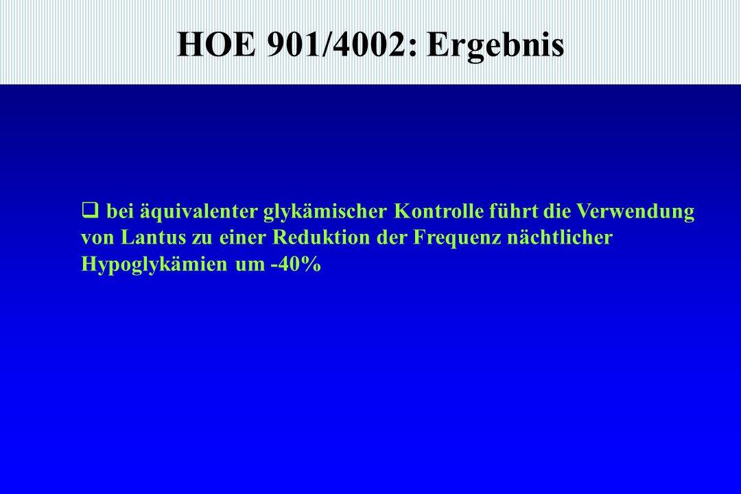 HOE 901/4002: Ergebnis bei äquivalenter glykämischer Kontrolle führt die Verwendung von Lantus zu einer Reduktion der Frequenz nächtlicher Hypoglykämien um -40%