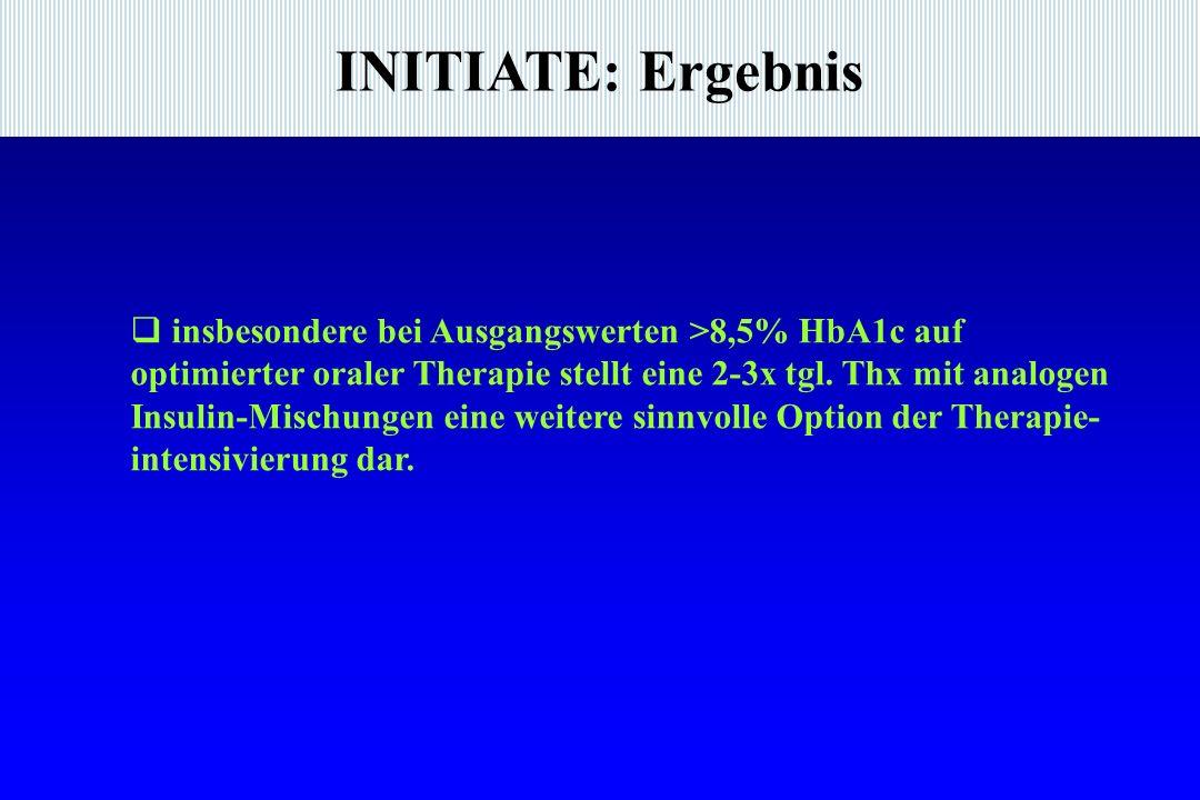 INITIATE: Ergebnis insbesondere bei Ausgangswerten >8,5% HbA1c auf optimierter oraler Therapie stellt eine 2-3x tgl.