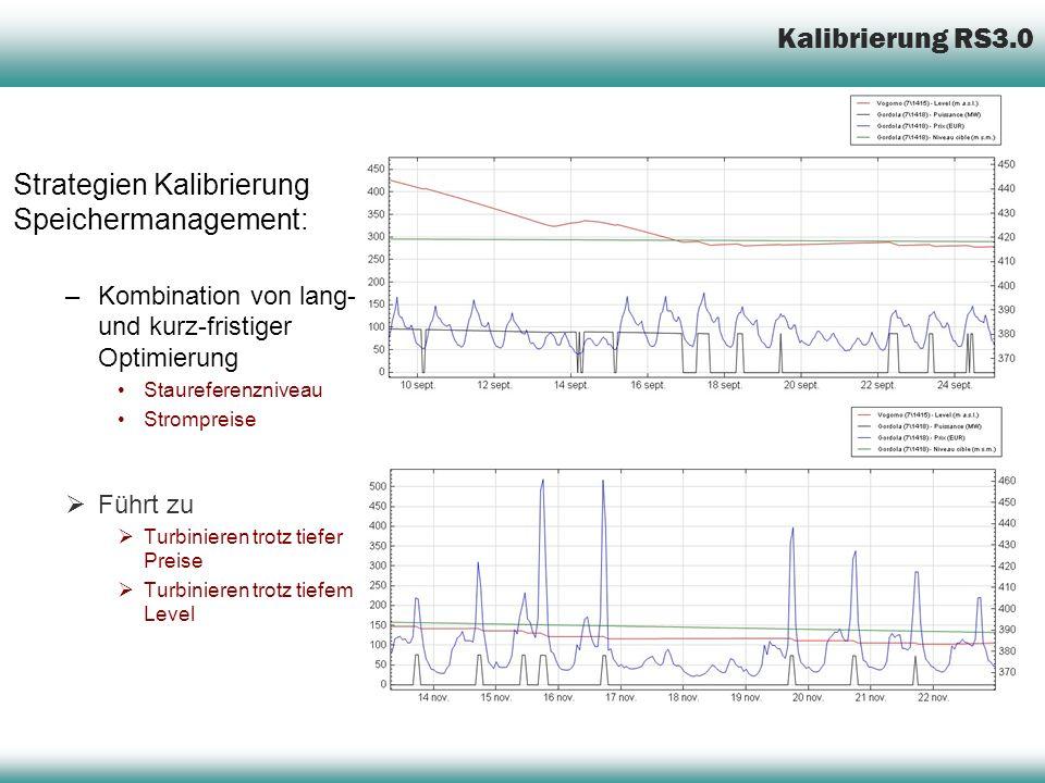 Strategien Kalibrierung Speichermanagement: –Kombination von lang- und kurz-fristiger Optimierung Staureferenzniveau Strompreise Führt zu Turbinieren trotz tiefer Preise Turbinieren trotz tiefem Level Kalibrierung RS3.0
