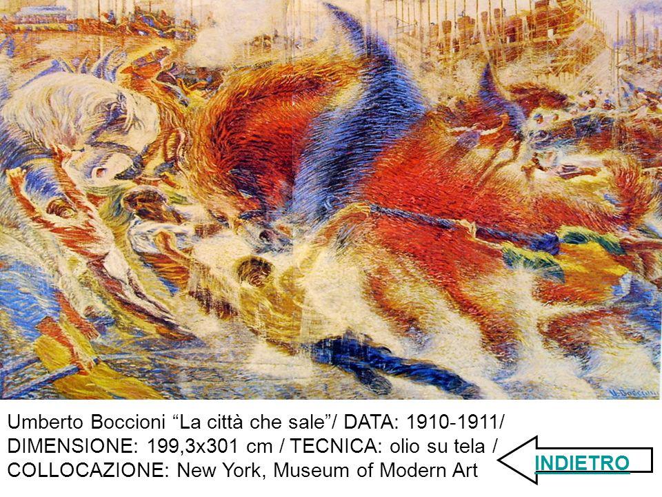 Umberto Boccioni La città che sale/ DATA: 1910-1911/ DIMENSIONE: 199,3x301 cm / TECNICA: olio su tela / COLLOCAZIONE: New York, Museum of Modern Art INDIETRO