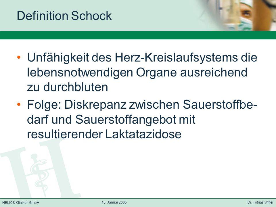 HELIOS Kliniken GmbH 10. Januar 2005 Dr. Tobias Witter Definition Schock Unfähigkeit des Herz-Kreislaufsystems die lebensnotwendigen Organe ausreichen