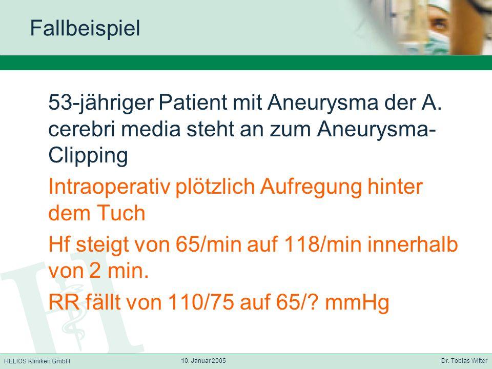 HELIOS Kliniken GmbH 10. Januar 2005 Dr. Tobias Witter Fallbeispiel 53-jähriger Patient mit Aneurysma der A. cerebri media steht an zum Aneurysma- Cli