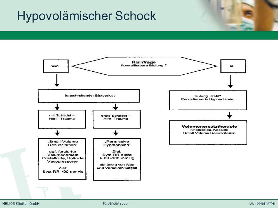HELIOS Kliniken GmbH 10. Januar 2005 Dr. Tobias Witter Hypovolämischer Schock