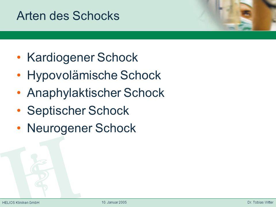 HELIOS Kliniken GmbH 10. Januar 2005 Dr. Tobias Witter Arten des Schocks Kardiogener Schock Hypovolämische Schock Anaphylaktischer Schock Septischer S