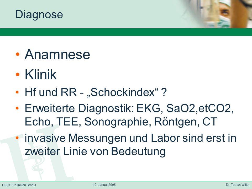 HELIOS Kliniken GmbH 10. Januar 2005 Dr. Tobias Witter Diagnose Anamnese Klinik Hf und RR - Schockindex ? Erweiterte Diagnostik: EKG, SaO2,etCO2, Echo