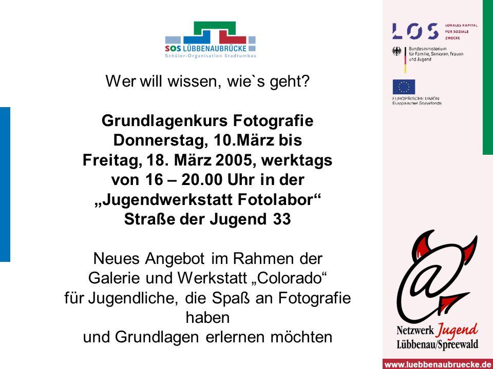www.luebbenaubruecke.de Wer will wissen, wie`s geht.