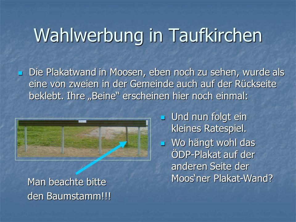 Wahlwerbung in Taufkirchen Die Plakatwand in Moosen, eben noch zu sehen, wurde als eine von zweien in der Gemeinde auch auf der Rückseite beklebt.
