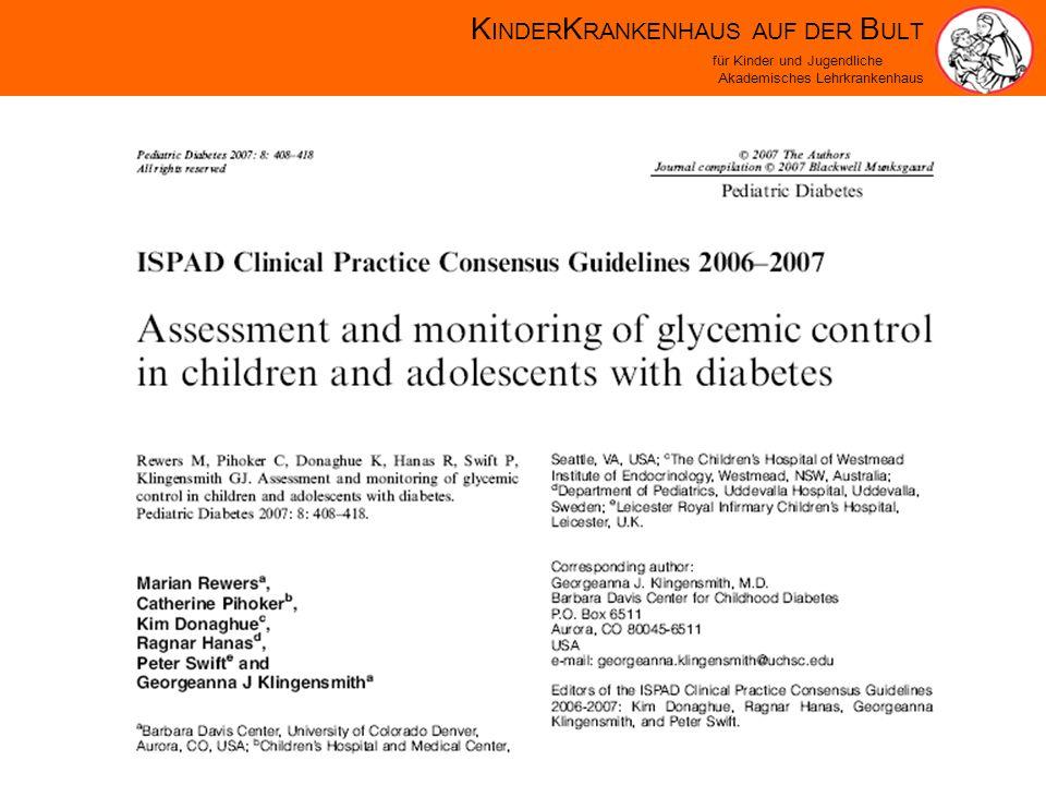 K INDER K RANKENHAUS AUF DER B ULT für Kinder und Jugendliche Akademisches Lehrkrankenhaus Rate of Background-Retinopathy (per 100 patient-years) < 77-88-99-1010-11> 11 0 2 4 6 8 10 Average HbA1c (%) Danne et.
