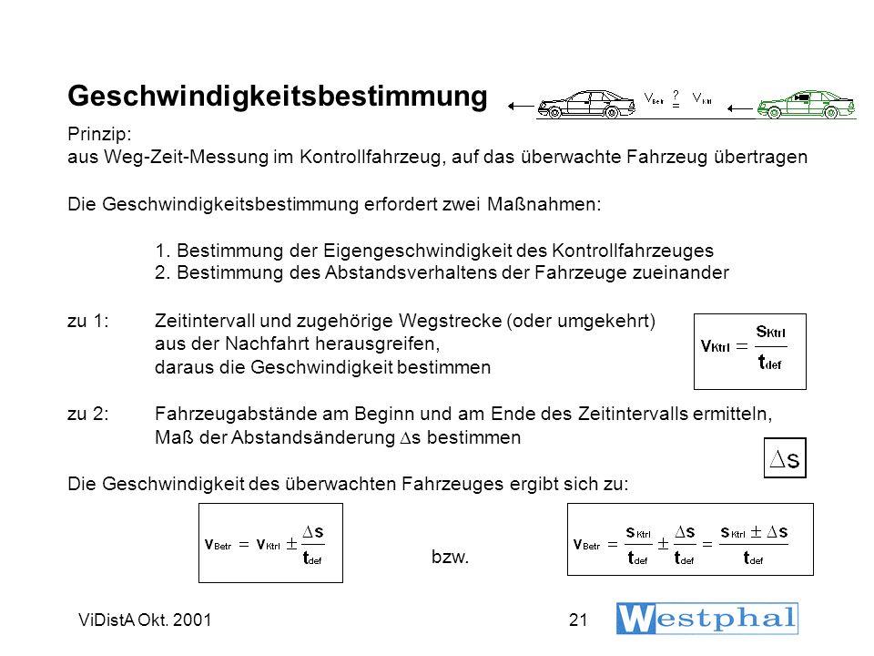 ViDistA Okt. 200121 Geschwindigkeitsbestimmung Prinzip: aus Weg-Zeit-Messung im Kontrollfahrzeug, auf das überwachte Fahrzeug übertragen Die Geschwind