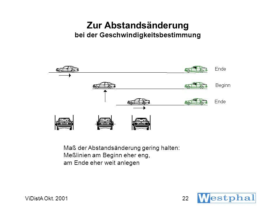 ViDistA Okt. 200122 Zur Abstandsänderung bei der Geschwindigkeitsbestimmung Maß der Abstandsänderung gering halten: Meßlinien am Beginn eher eng, am E