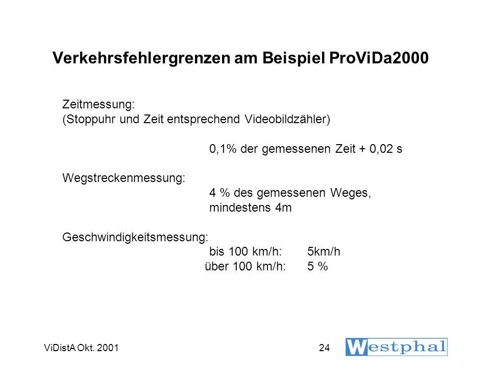ViDistA Okt. 200124 Verkehrsfehlergrenzen am Beispiel ProViDa2000 Zeitmessung: (Stoppuhr und Zeit entsprechend Videobildzähler) 0,1% der gemessenen Ze